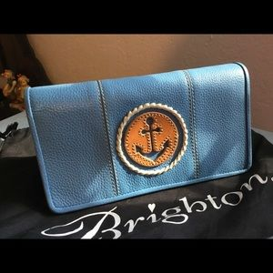 NWT BRIGHTON BLUE WATERS SLIM LARGE LEATHER WALLET